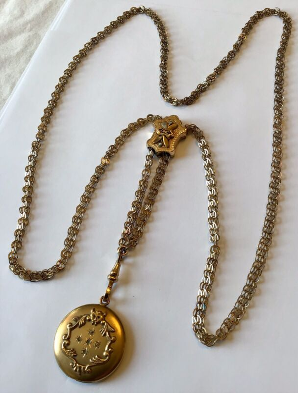 VICTORIAN GOLD FILLED PEARL WATCH SLIDE CHAIN NECKLACE WITH GARGOYLE LOCKET AD2