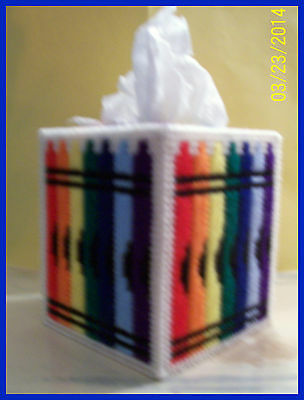 CRAYOLA CRAYON BLUE-ORANGE-YELLOW-RED HAND MADE PLASTIC CANVAS TISSUE BOX COVER (Red Crayola Crayon)