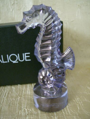 Lalique Crystal France Blue Luster Seahorse Figurine w/Box