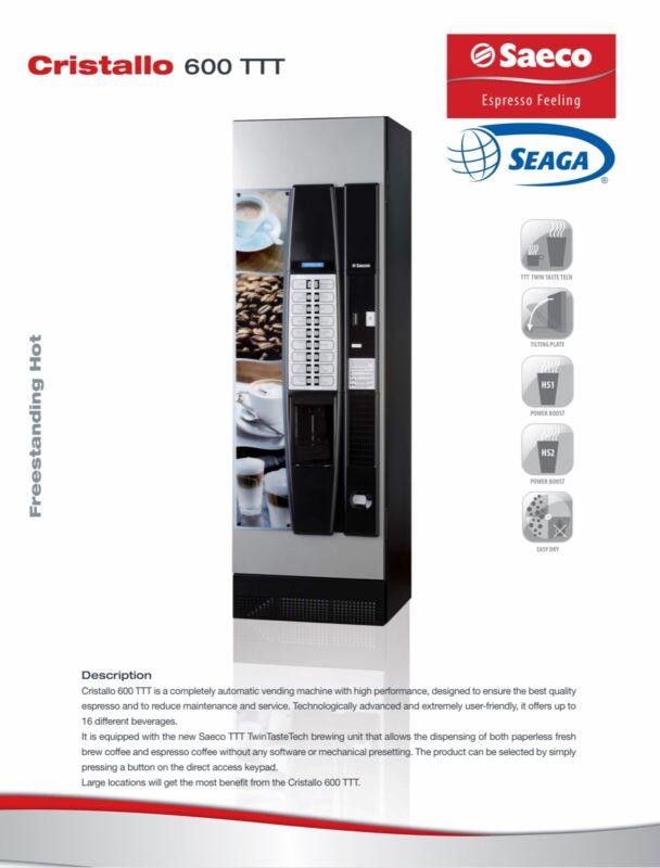 SEAGA SAECO Cristallo 600 TT espresso vending machine - own your own business!