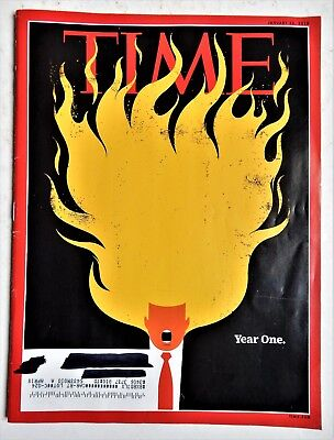 Donald Trump Time Magazine January 22 2018 Trump's first year flaming hair