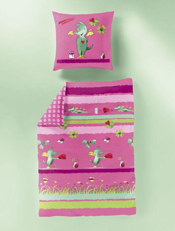 Bierbaum Kinder Bettwäsche Tabaluga in Pink Renforce 80 x 80 135 x 200 cm neu