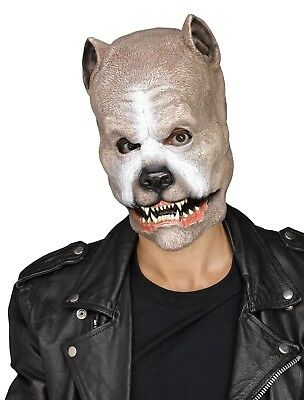 Adult Brown Pit Bull Dog Latex Mask Snarling Dog Halloween Costume Accessory