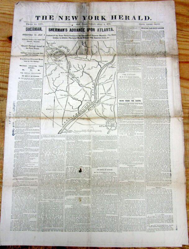 1864 Civil War newspaper wth MAP of the Atlanta Campaign GEORGIA Gen W T Sherman