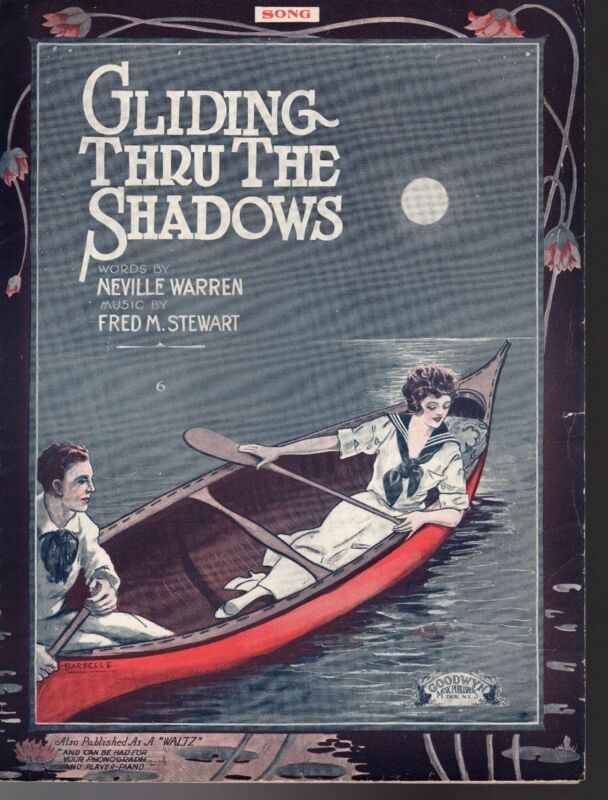 GLIDING THRU THE SHADOWS Sheet Music 1919   BARBELLE