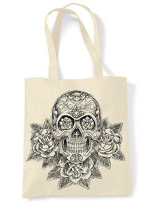 Skull and Roses Tattoo Large Print Tote Shoulder Shopping Ba