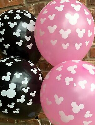 Mickey Mouse Balloons Minnie Mouse Balloons Latex Black Pink - 10 Balloons - Pink Black Balloons