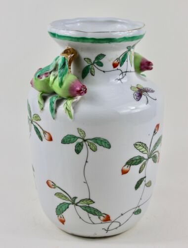One Hua Rong Tang Zhi Chinese porcelain famille rose majolica peach vase #1