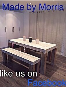 Rustic indoor/outdoor table and bench seats brand new custom made Highland Park Gold Coast City Preview