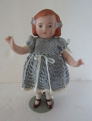 """6"""" Porcelain Bisque Jointed Doll - Molded Hair, Bow, Shoes & Socks - Germany"""