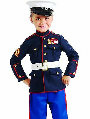 Marine Costume For Girls (Child Marine Costume Boys Military Dress Uniform - S 4-6, M 8-10, L)