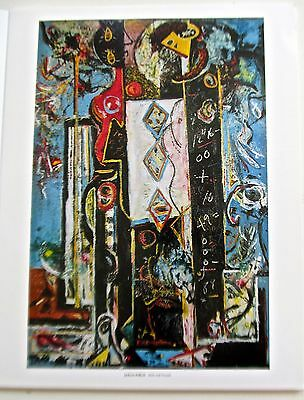 Jackson Pollock Poster  Male and Female  Abstract Forms in Red/Black 14x11