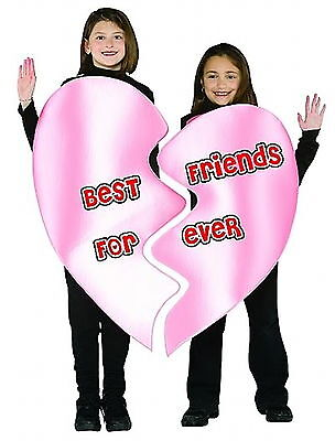 BFF BEST FRIENDS FOREVER HALLOWEEN VALENTINES  2 PERSON COSTUME   Size 7 - 10 - Best Halloween Costumes For Girls