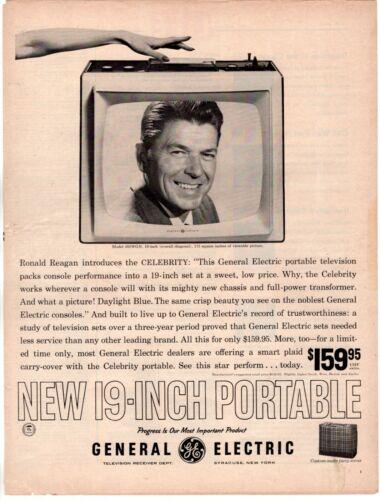 1961 ORIG VINTAGE GENERAL ELECTRIC TELEVISION MAGAZINE AD FEATURING RONALD REAGA