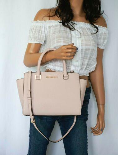 Michael Kors Selma Medium Tz Satchel Shoulder Saffiano Leather Bag Pink Blossom