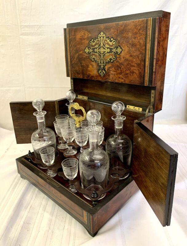 Antique French Tantalus Decanter Cave Liqueur Liquor Set