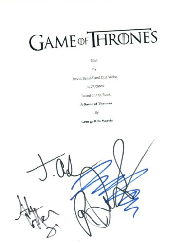 GAME OF THRONES Cast Signed Autograph Pilot Script by 4 Dormer Gillen COA