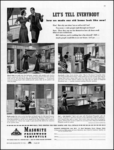 1940 Masonite Presdwood Temprtile home improvement vintage art Print Ad adL71