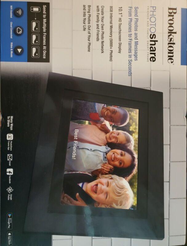 Brookstone 10.1 DIGITAL PHOTO FRAME LATEST MODEL PhotoShare Touchscreen W/ Wi-Fi
