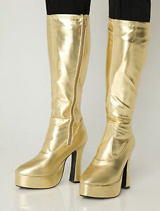 gold gogo boots womens retro knee high platform boots