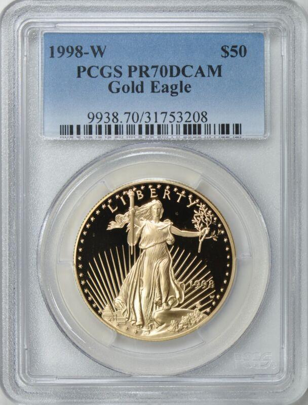 1998-W $50 GOLD EAGLE PROOF PCGS PR70 PRICE $3,900