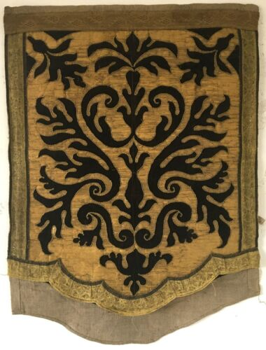 Beautiful Early 19th C. Portuguese Velvet and Metallic Applique Fabric  (2890)