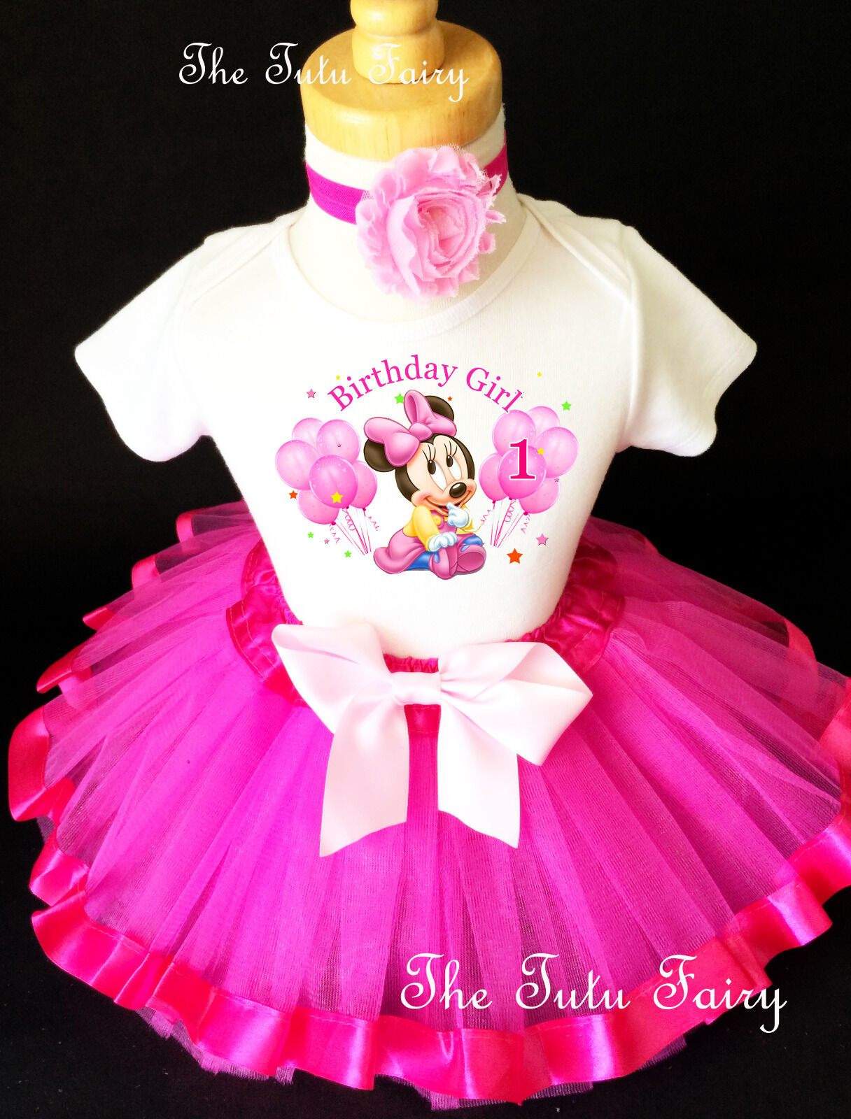 Baby Minnie Mouse Hot Pink Girl 1st First Birthday Tutu Outf