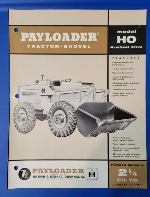 Model HO International Harvester Hough Payloader Tractor Shovel Vintage Brochure
