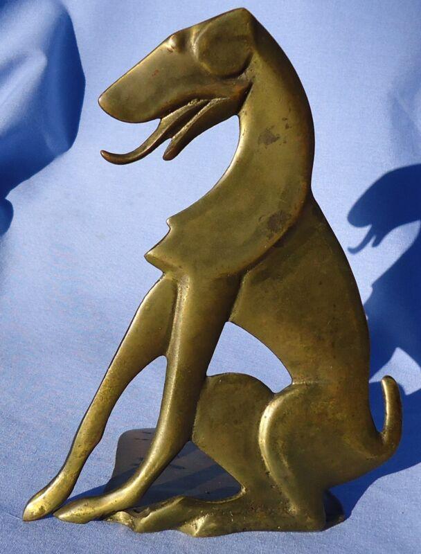 """ART DECO GREYHOUND LURCHER DOG BRONZE BOOKEND 7"""""""