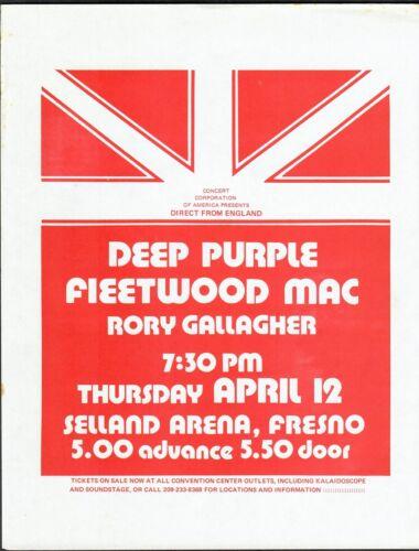 "Deep Purple Fleetwood Mac Rory Gallagher 1973 Fresno Concert  8"" x 11"" Handbill"