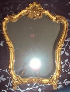 ancien miroir style louis xv bois sculpte dore coquille cm ebay. Black Bedroom Furniture Sets. Home Design Ideas