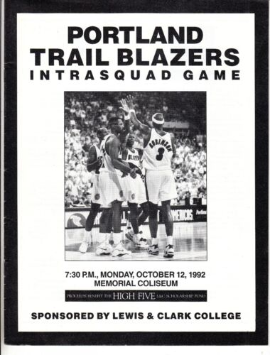 Portland Trail Blazers Intrasquad Game Program Oct