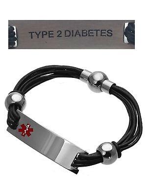 Type 2 Diabetes Medical Alert 316L Stainless Steel Leather Unisex Bracelet