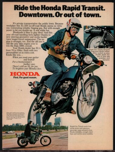 1976 HONDA XL350 Vintage Motorcycle Photo AD