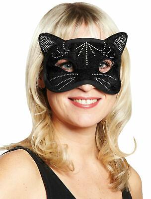 Domino Katze Augenmaske Cat schwarz Katzenmaske Halloween Karneval Fasching