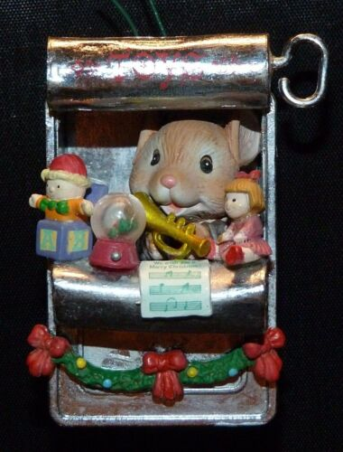 """Carlton Christmas Ornament  ~ """" Tiny Toyshop """" ~ Mouse Toy Maker in Sardine Can"""