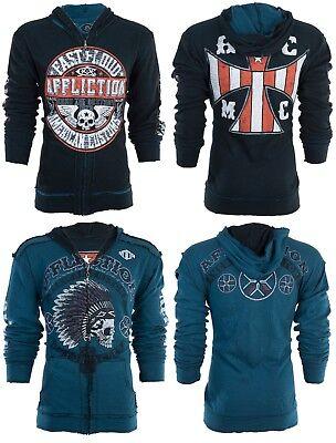 AFFLICTION Men Hoodie Sweat Shirt ZIP UP Jacket REVERSIBLE Arrow BIKER UFC $98 Reversible Sweatshirt