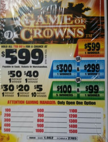 *$273 PROFIT GAME OF CROWNS $599 WINNER $1/1062 PULL TABS INSTANT/MULTIPLE WINS!
