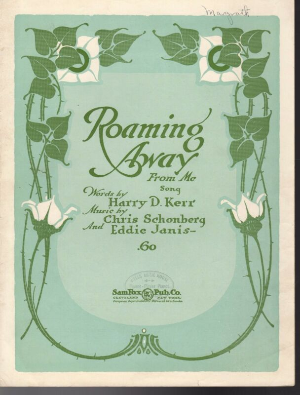 ROAMING AWAY FROM ME Sheet Music  1921