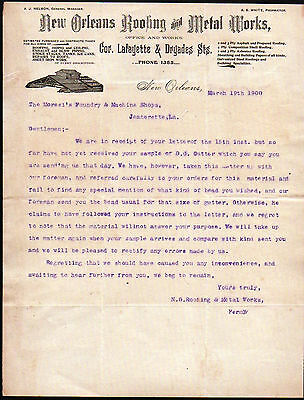1900 New Orleans Roofing & Metal Works - A J Nelson - Louisiana Letter Head Rare