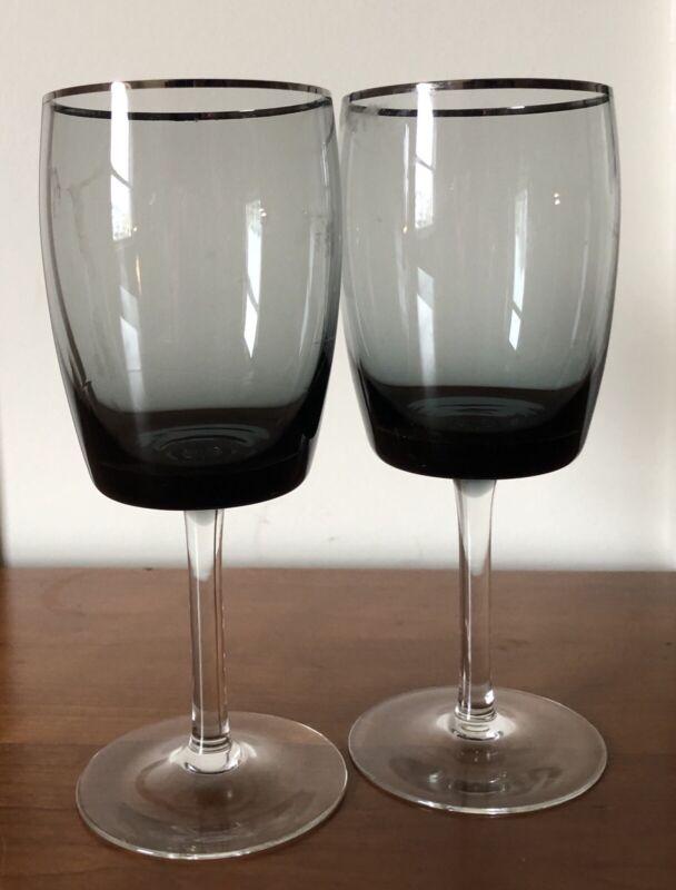 Set of 2 Gorham Midnight Mist Water Goblet Smoke Bowl Platinum Glasses 1969-74
