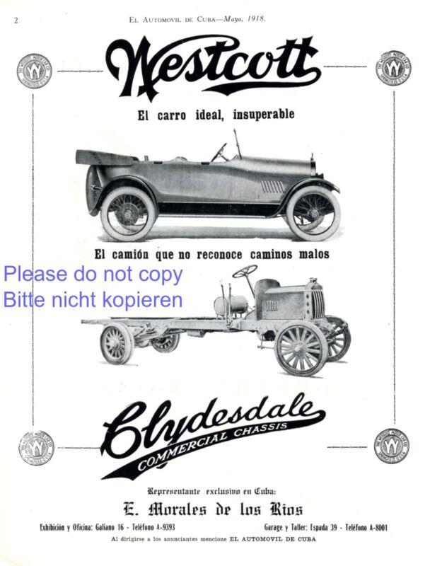 Westcott Motor Car Company ad 1918 in spanish Automobiles advertising Truck ad