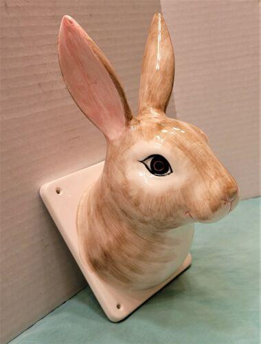 French Country Farmhouse Rabbit Head Ceramic Wall Mount Apron Towel Rack Holder