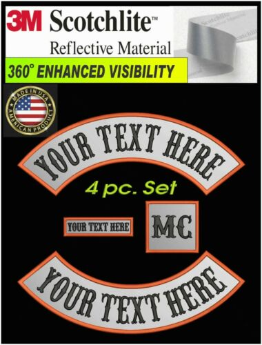 REFLECTIVE 4 PIECE SET CUSTOM EMBROIDERED ROCKER PATCH 3M® MOTORCYCLE BIKER USA