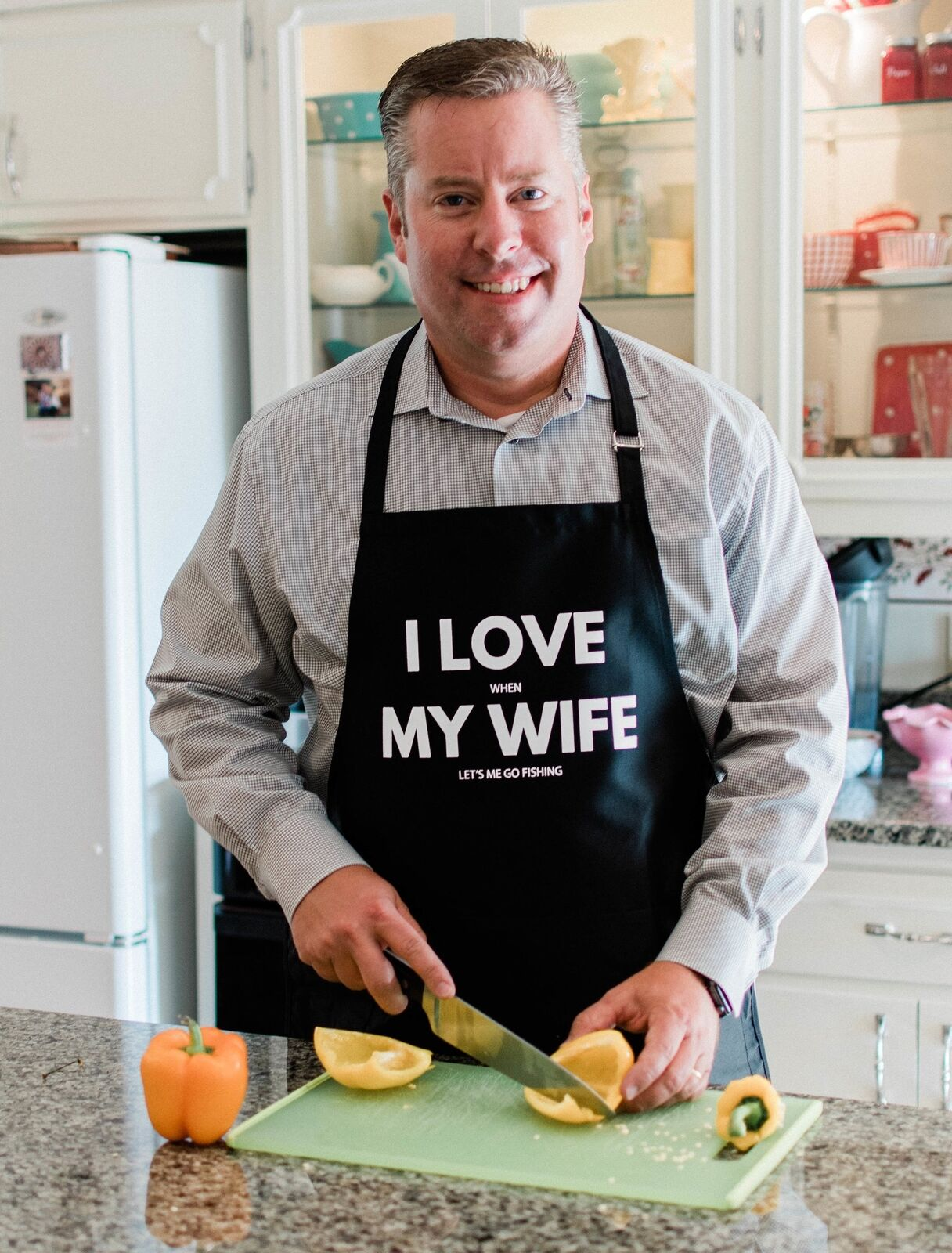 I Love My Wife Apron for Grilling, Funny Fishing Gift for Me