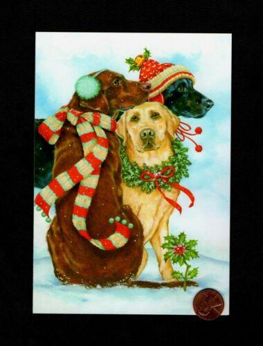 Christmas Dogs Scarf Beanie Wreath Bells Ear Muffs - Greeting Card  W/ TRACKING