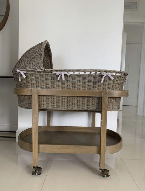 Restoration Hardware Baby & Me HEIRLOOM WICKER BASSINET - Grey