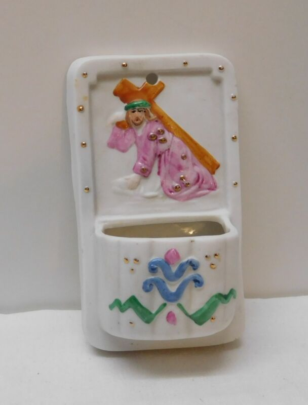 Jesus Carrying Cross Wall Pocket Holey Water Basin Marked Germany Small Vintage