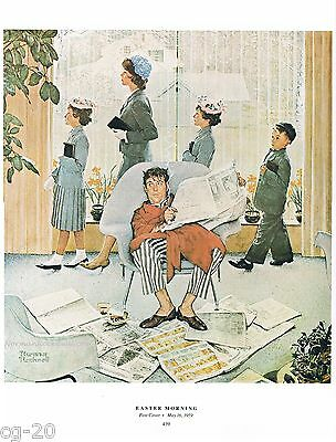 """Norman Rockwell print: """"SUNDAY MORNING"""" Easter church service religion God"""