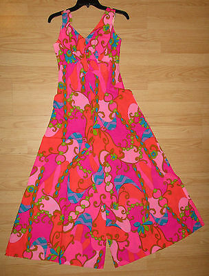 Vintage Mildred's of Hawaii MOD  Bright Floral Pallazo Wide Leg Jumpsuit
